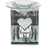 "Pavilion Gift Company Glorious Occasions Happily Ever After Glass Wedding Candle Holder, 5"", Clear"