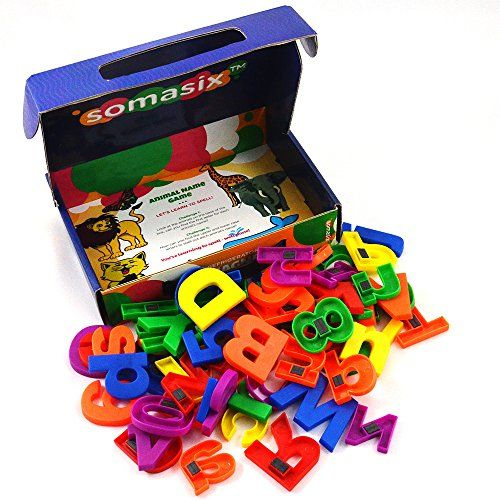 Somasix ABC Magnetic Letters and Numbers - Educational Refrigerator Magnet Set for Kids (62 Pieces) (Digits In A Box compare prices)