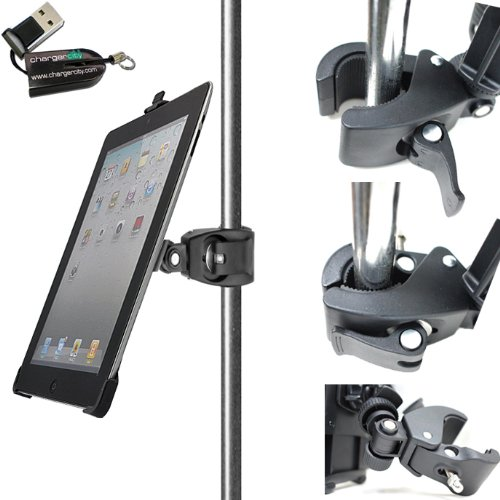 "Chargercity Dedicated 360° Swivel Adjustment Apple Ipad 2 3 Or 4 Retina Holder With 1/4""-20 Connection With Dual Joint Multi Adjustable Bar/Pole Clamp Mount For Tripod Monopod Music Mic Microphone Stand, Golf Cart, Stroller (Include Free Chargercity Micro"