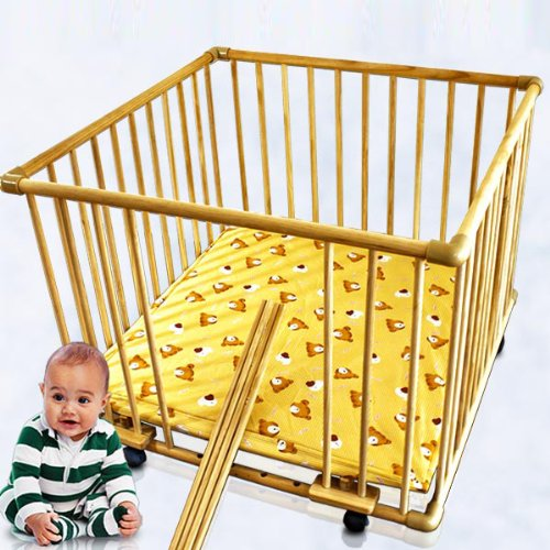 Wooden baby playpen mat on casters with playmat BEAR Design, 4 Extractable bars