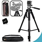 Durable Pro Grade 72 inch Full size Tripod with 3 way Pan-Head, Bubble level indicator, 3 Section Aluminum alloy lock in legs for Sony FDR-AX1, FDR-AX100, NEX-EA50UH, NEX-FS700U, NEX-FS100U, HVR-Z7U, HXR-NX70U, HVR-Z5U, HXR-NX3, PMW-EX3, PMW-EX1, PMW-F3L, PMW-300, PMW-300K1, PMW-100, PXW-Z100, HXR-MC2000U, HXR-MC1500p, HXR-MC1000p, HXR-MC50U, HXR-NX5U, HXR-NX3, HXR-NX70U, HXR-NX30U, HDR-AX2000, HDR-FX1, HDR-FX7, HDR-FX1000, HDR-CX900, HDR-PV790V, HDR-PJ650V, HDR-PJ430V, HDR-PJ380, HDR-PJ230, HDR-XR155, HDR-TD30V, HDR-XR550E, HDR-XR350V, HDR-XR350E, HDR-XR260V, CR-VX2200e, CR-VX2100, DSR-PD170, DSR-PD150 Camcorders plus Convenient Backpack style Carrying Case