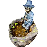 Garten & Deko 812 Fontaine en polystone avec motif Le joueur de flute et pompe