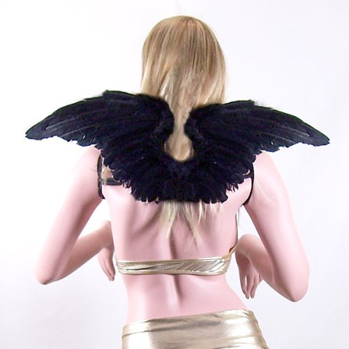 SACAS Large Black Feather Angel Fairy Wings with Free Halo