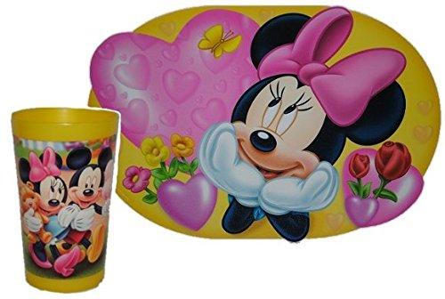 2-tlg-Minnie-Mouse-Set-Trinkbecher-Unterlage-Becher-Trinkglas-Glas