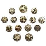 アンティーク バネホック ボタン レザークラフト 洋服 アクセサリー 真鍮古美 セット (14種セット)