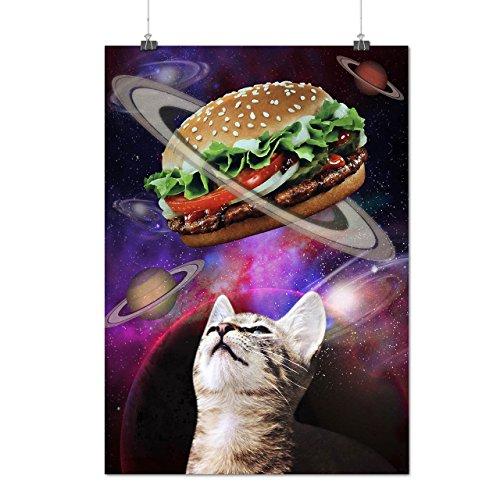 Espace Burger Chat Amusement Chaton Matte/Glacé Affiche A2 (60cm x 42cm) | Wellcoda