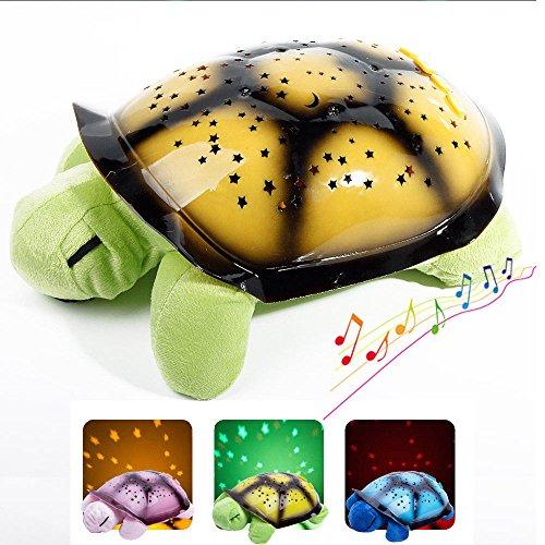 Ihappy Turtle Star Sky Projection Lamp Musical Led Night Light Help Baby Kids Sleep,Green