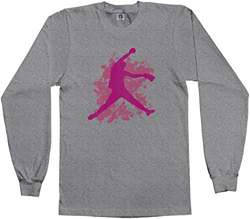 Threadrock Big Girls' Softball Player Youth Long Sleeve T-Shirt XL Sport Gray (Pitcher Tshirt compare prices)