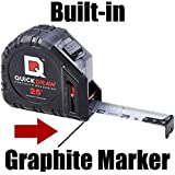 QuickDraw - *Self Marking* 25 foot Tape Measure | 1st Measuring Tape with a *Built in Pencil* | Contractor Grade Steel Tape | Power Locking Tape Ruler