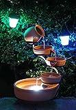 Aqua Moda Terracotta Cascade with Battery Back up & LED Light Solar Outdoor Free Standing Fountain