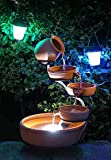 Aqua Moda Terracotta Cascade with Battery Back up & LED Light Solar Outdoor Free Standing Fountain