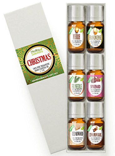 Best Christmas Essential Oil Gift Set (6) 100% Pure Therapeutic Grade Aromatherapy Essential Oil Set - 6/10 mL (Myrrh, Frankincense, Spikenard, Fir needle, Cedarwood, Cinnamon bark)