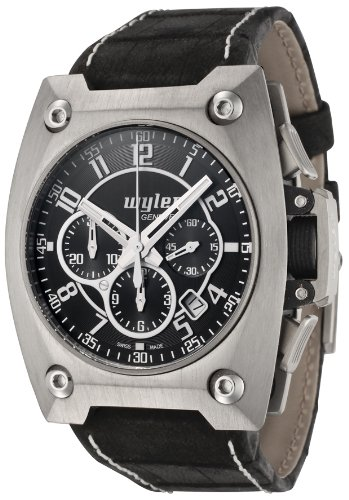 Men's Code R Automatic Chronograph Black Dial Black Alligator