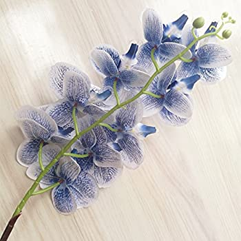 8pcs Blue Orchid Fake 9 Heads Phalaenopsis Moth Orchids for Wedding Centerpieces Artificial Decorative Flowers