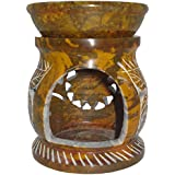 Fusion Gallery Stone Oil Diffuser With T-Light Candle (9 Cm X 7 Cm X 7 Cm, Brown, Set Of 3, F0196)