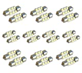 "MicTuning 20pcs 31mm 6-SMD 1.25"" 12V Festoon Dome Light LED Bulbs DE3175 DE3022 DE3021 3175 - White"