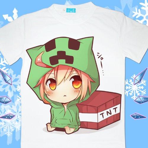 コスプレ衣装♪Minecraft(マインクラフト)クリーパー(Creeper)  Tシャツ Lサイズ コスチューム、コスプレ