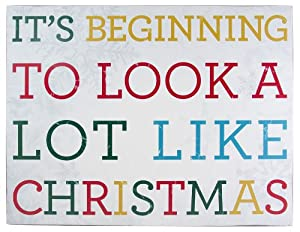 About Face Designs Wooden Wall Décor Plaque, 11.75 by 9-Inch, A Lot Like Christmas