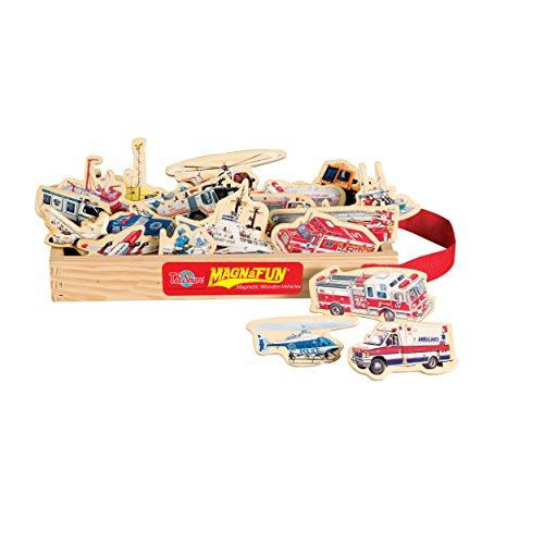 T.S. Shure Emergency Vehicles Wooden Magnets 20 Piece MagnaFun Set - 1
