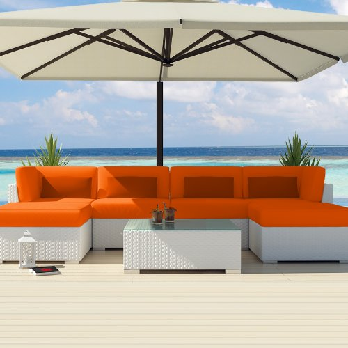 Superb Uduka Outdoor Sectional Patio Furniture White Wicker Sofa Set Diani Orange All Weather Couch