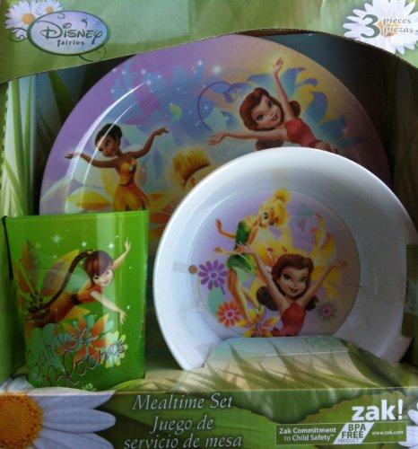 Zak Designs Disney Fairies 3-Piece Plate, Bowl and Tumbler Dinner Set - 1