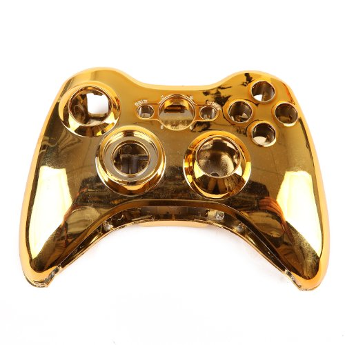 HDE Xbox 360 Wireless Controller Shell Buttons Thumbsticks Replacement Case Custom Cover Kit - Chrome Gold (Modified Xbox Controller compare prices)