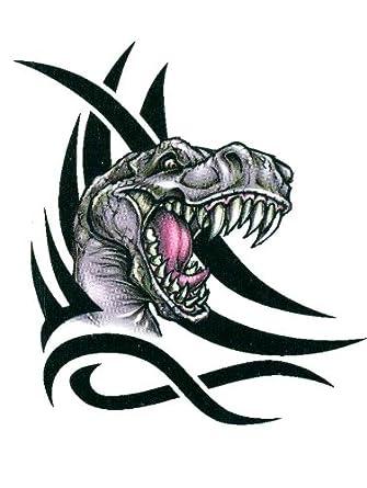Amazon.com: Tribal T-Rex Head Dinosaur Temporary Body Art Tattoos 2.5