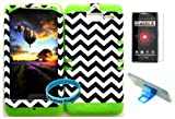 Bumper Case for Motorola Droid Razr M (XT907, 4G LTE, Verizon) Protector Case Dark Blue Chevron Waves Snap on + Lime Silicone Hybrid Cover (Phone Stand, Screen Protector & Wireless Fones' Wristband included)