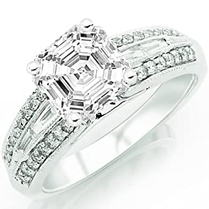 1.32 Carat Asscher Cut / Shape 14K White Gold Vintage Channel Set Tapered Baguette And Pave Set Round Diamond Engagement Ring ( E-F Color , SI1 Clarity )