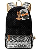 Leaper Cute Polka Dot and Aztec Canvas Backpack School Bag Lightweight Rucksack