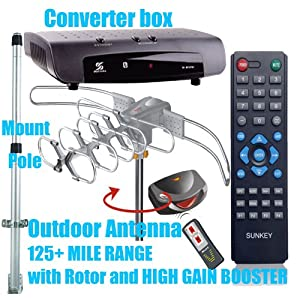 Digital Tv Converter Box+8608 Amplified Hd Digital Outdoor Hdtv Antenna with Motorized 360 Degree Rotation, Uhf/vhf/fm Radio with Infrared Remote Control +1.5m Mount Pole