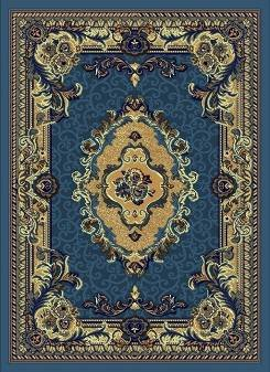E521 8x10 Persian Design Traditional Medallion Light Blue Hand Carved Carpet Rug Actual Size 7'9