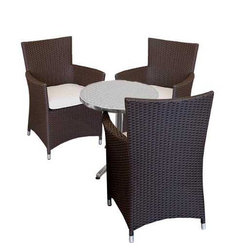 aluminium bistro set balkonm bel poly rattan sessel braun. Black Bedroom Furniture Sets. Home Design Ideas