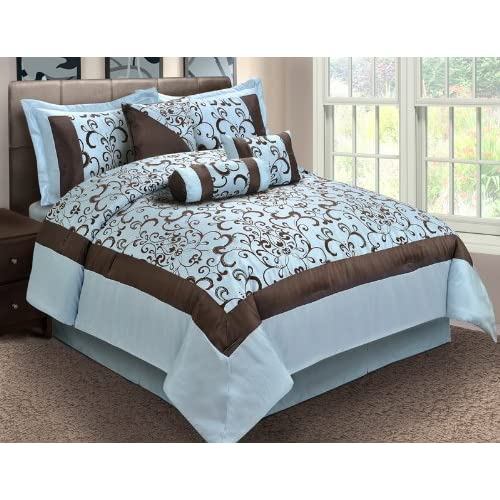Amazon Com 7 Piece Queen Misty Blue And Coffee Comforter