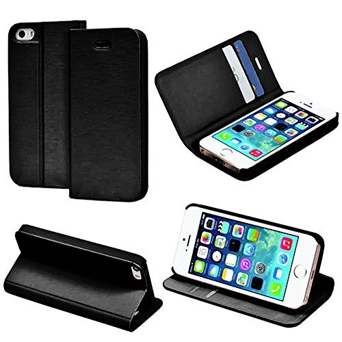 Mylife (Tm) Shimmering Black - Modern Design - Textured Koskin Faux Leather (Card And Id Holder + Magnetic Detachable Closing) Slim Wallet For Iphone 5/5S (5G) 5Th Generation Itouch Smartphone By Apple (External Rugged Synthetic Leather With Magnetic Clip