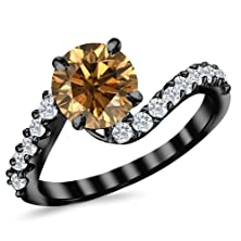 buy 1.01 Carat 14K Black Gold Twisting & Curving Diamond Engagement Ring With A 0.5 Carat Natural Untreated Brown/Champagne Diamond Center (Heirloom Quality)