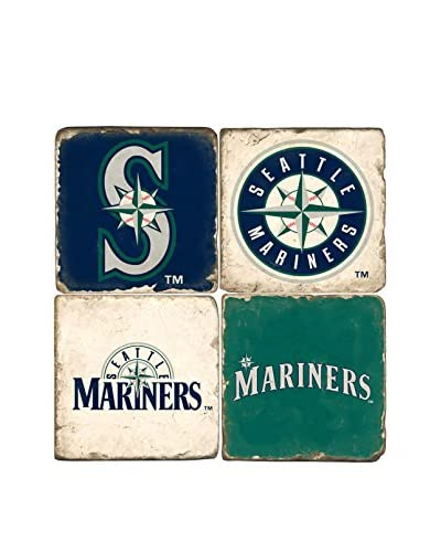 Studio Vertu Set of 4 Mariners Logoed Tumbled Marble Coasters with Stand