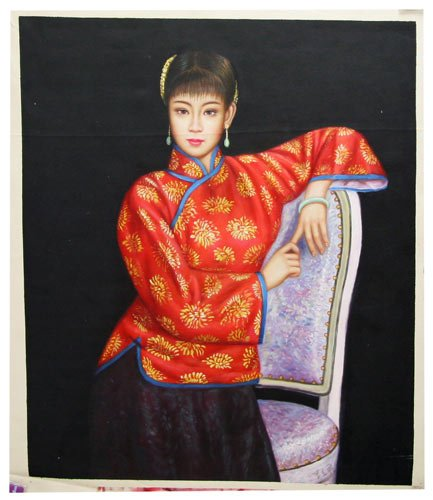 woman-in-red-on-chair-asian-portrait-hand-painted-chinese-contemporary-art