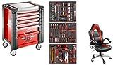 """Servante Facom 7 tiroirs """"Passion"""" + composition d'outils + Fauteuil de bureau Facom"""