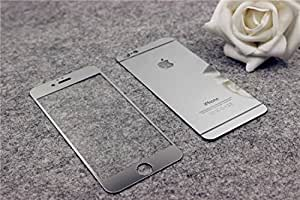 Cakin New Colorful Mirror Effect Electroplanting Premium Real Tempered Glass Film Screen Protector for Apple iPhone 6 - 4.7 inches Front and Back Panel 2 Packs (I6 4.7 Silver)