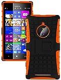 Heartly Flip Kick Stand Spider Hard Dual Armor Hybrid Bumper Back Case Cover For Nokia Lumia 830 - Mobile Orange