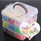 Toy - 20 pcs bunten Obst-Perlen(zufällige Mischung)+15 Raster 3 Schichten 2000 pcs gemischt Farbe Gummiband 1x Haken S/Clips Anhänger Gummibänder für Bunte Gummi-Band Loom