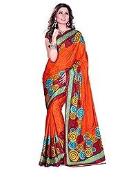 Araham Faux Jacquard Crepe Silk Self Print Saree - B00P261VP0