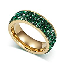buy Stainless Steel Women'S Rings Gold Plated Green 3 Circles Crystals Size 8 - Adisaer Jewelry