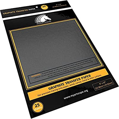Graphite Transfer Carbon Paper 25 Sheets 9 x 13 Black Tracing Paper for Wood Paper Canvas Other Art Surfaces Artists Supplies by MyArtscape