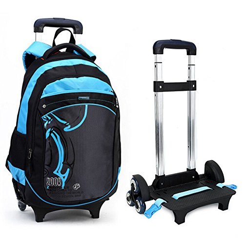 CORLISS Climb Stairs Kids Student Nylon Trolley Bag School Backpack Bookbag Travel Hiking Bag Luggage Suitcase With 3 Group of Silence Wheels For Child Boy's and Child Girl's (01# Blue)