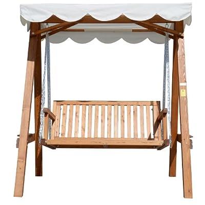 Hollywoodschaukel mit Sonnendach 2-Sitzer Gartenschaukel Schaukelbank Schaukel aus Lärchenholz von hergestellt für homcom - Gartenmöbel von Du und Dein Garten