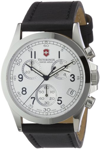 Victorinox Swiss Army Men's Infantry 24835 Black Leather Swiss Quartz Watch with White Dial