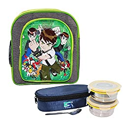 Frabjous Ben10 Green School Bag with Stenso Lunch Box
