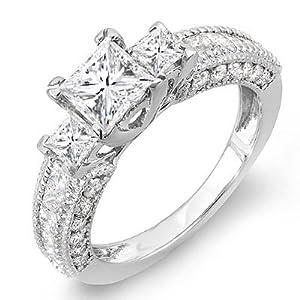 1.65 Carat (Ctw) 14k White Gold Princess & Round Diamond Ladies Semi Mount 3 Stone Engagement Bridal Ring (No Center Stone) (Size 6.5)